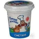 Сметана Весёлый молочник 15% 340г пластиковый стакан Украина