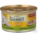 Консерва для котів Gourmet Gold Дуо Кріль та печінка в соусі бешамель 85г