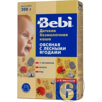 Каша детская Беби Овсяная с лесными ягодами безмолочная сухая быстрорастворимая 10 порций с 6 месяцев 200г