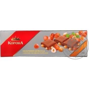 Шоколад молочный Корона с целыми лесными орехами плиточный 200г Украина