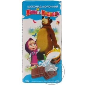 Шоколад молочный Ооо маша и медведь в плитках 100г Украина