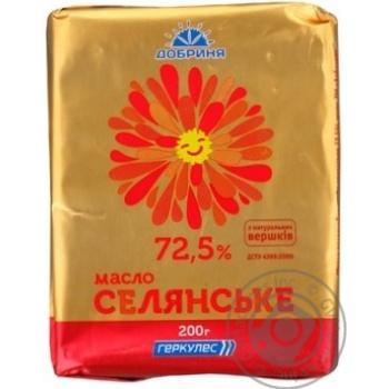Масло Добрыня Крестьянское 72,5% 200г фольга Украина