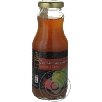 Сок Файн Фуд Яблочно-Земляничный прямого отжима неосветлённый пастеризованный 250мл стеклянная бутылка Украина