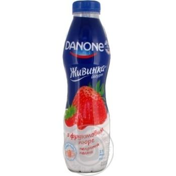 Йогурт Данон Живинка Клубника-Земляника 1% пластиковая бутылка 580г Украина