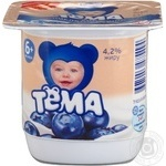Cottage cheese Tema Blueberry for 6+ months babies 4.2% 100g plastic cup Russia