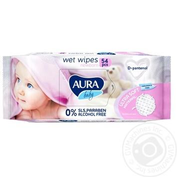 Салфетки влажные Aura Baby с Д-пантенолом 54шт