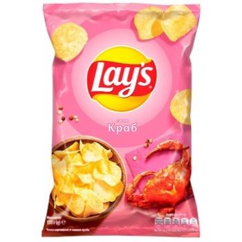 Чипсы Lay's картофельные со вкусом краба 133г - купить, цены на Пчёлка - фото 1