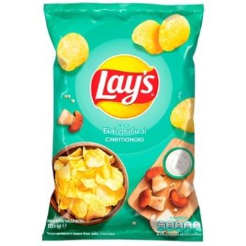 Чипсы картофельные Lay's со вкусом белых грибов со сметаной 133г - купить, цены на Varus - фото 1