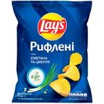 Чіпси картопляні Lay's зі смаком сметани та цибулі рифлені 71г