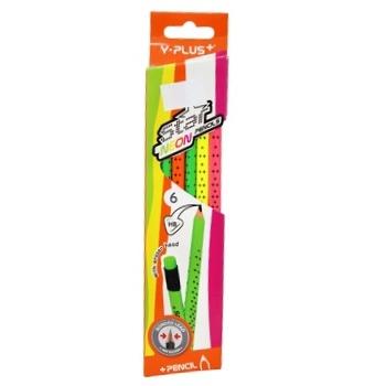 Y Plus Star Neon Pencils Black-graphite HB 6pcs - buy, prices for CityMarket - photo 1