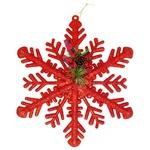Украшение новогоднее Снежинка красная