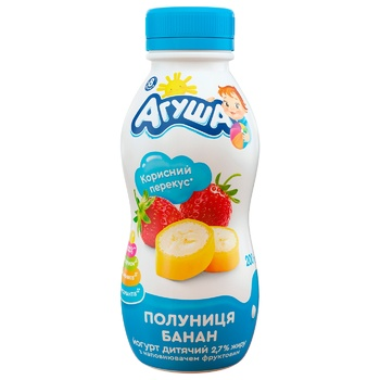 Йогурт Агуша клубника-банан для детей с 8 месяцев 2.7% 200г - купить, цены на МегаМаркет - фото 1