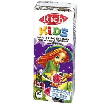 Нектар Rich Kids яблуко виноград чорноплідна горобина малина 0,2л - купити, ціни на CітіМаркет - фото 1