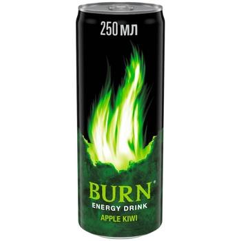 Напиток Burn Яблоко и Киви энергетический безалкогольный сильногазированный 250мл жестяная банка - купить, цены на Фуршет - фото 1