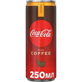 Напиток Coca-Cola Plus Coffee Карамель с экстрактом кофе со вкусом карамели безалкогольный сильногазированный ж/б 250мл