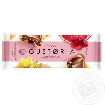 Шоколад СВІТОЧ® Gustoria молочный с имбирем, арахисом и желейными кусочками 100г