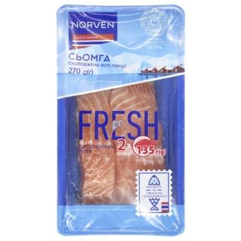 Семга Norven филе-порции на коже охлажденная 270г - купить, цены на Novus - фото 1