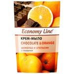 Крем-мило Economy line Шоколад и апельсин з гліцерином 460г