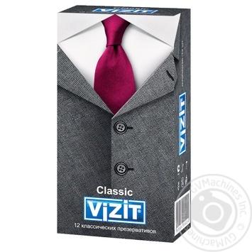 Презервативы Vizit Classic классические латексные прозрачные гладкие с накопителем и силиконовой смазкой 12шт - купить, цены на Ашан - фото 1