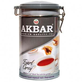 Черный чай Акбар Эрл Грей цейлонский среднелистовой с бергамотом 225г