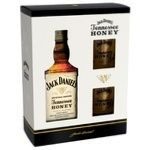 Jack Daniel's Tennessee Honey Whiskey 35% 0.7l + two glasses in a gift box - buy, prices for Novus - image 1