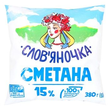 Сметана Слов'яночка 15% 380г