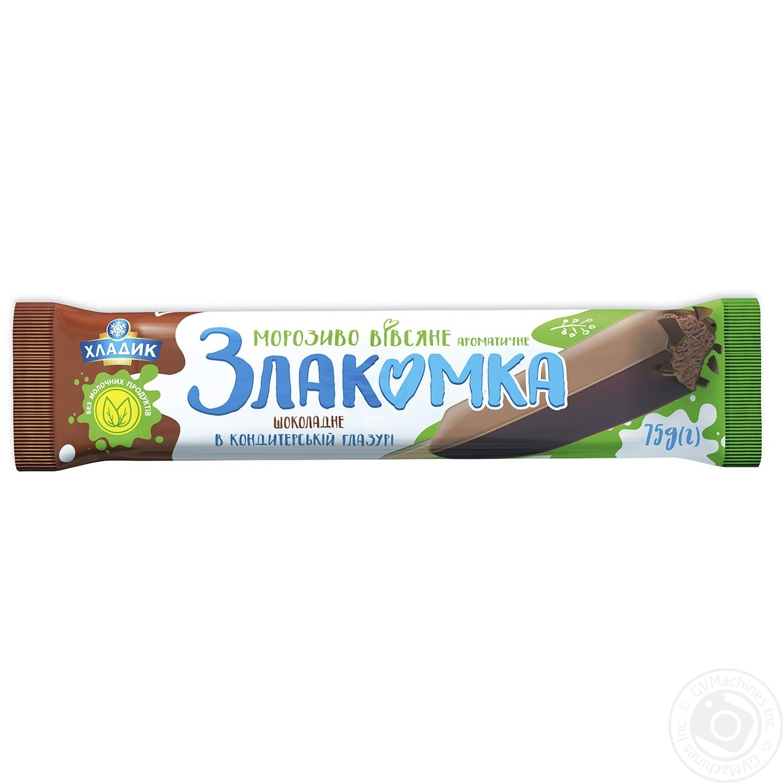 Мороженное Хладик Злакомка ароматичное овсянное шоколадное в кондитерской глазури 75г