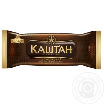 Мороженое Хладик Каштан Шоколадный пломбир шоколадный в кондитерской глазури 12% 75г - купить, цены на Таврия В - фото 1