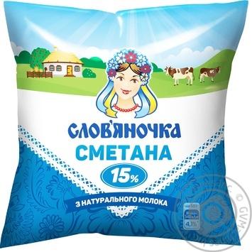 Сметана Слов'яночка 15% 380г - купить, цены на Ашан - фото 1