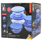 Набор емкостей Bergner стеклянных 20 предметов синий