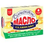 Масло Белоцерковское Селянское сладкосливочное 72,6% 180г