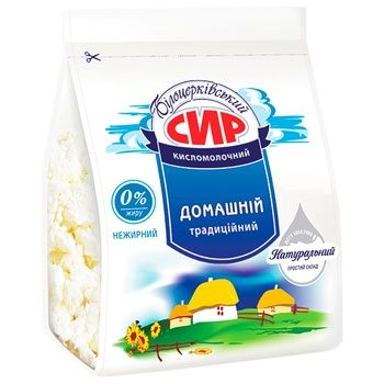 Сир Білоцерковський кисломолочный нежирный 0% 350г - купити, ціни на Метро - фото 1