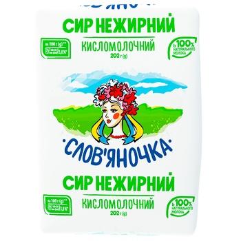 Сир Слов'яночка кисломолочний нежирний 202г Україна - купити, ціни на Фуршет - фото 1