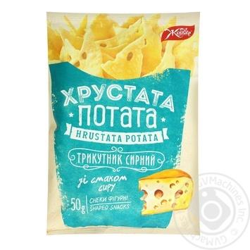 Снеки фигурные Жайвир Треугольник сырный со вкусом сыра 50г - купить, цены на Фуршет - фото 1