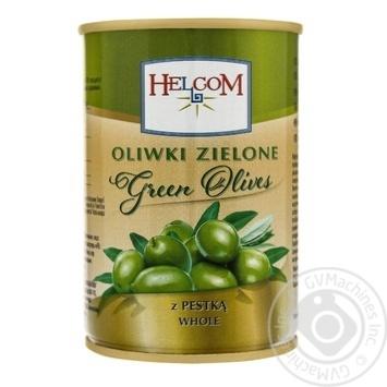 Оливки Helcom зелені з кісточкою 300мл - купити, ціни на Фуршет - фото 1
