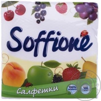 Серветки Soffione 33X33см 100шт - купити, ціни на МегаМаркет - фото 1