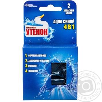 Запасной блок очиститель для унитаза Туалетный утенок Aqua 4в1 подвесной синий 2шт*40г