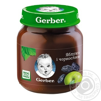 Пюре Гербер яблоко и чернослив без крахмала и сахара для детей с 5 месяцев 130г - купить, цены на Novus - фото 1