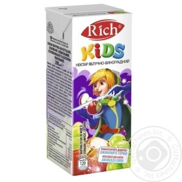 Нектар Rich Kids яблочно-виноградный осветленный купажированный 0,2л - купить, цены на Ашан - фото 1