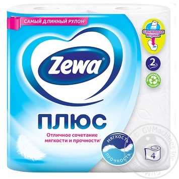 Zewa Plus White 2-Ply Toilet Paper 4pcs - buy, prices for Novus - image 2