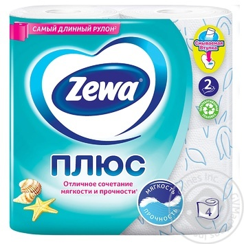 Zewa Plus Toilet paper ocean freshness 2 layers 4pcs - buy, prices for Novus - image 2