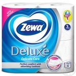 Туалетная бумага Zewa Deluxe Delicate Care белая 3-х слойная 4шт - купить, цены на Novus - фото 2