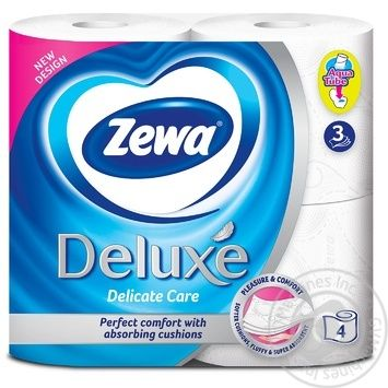 Zewa Deluxe Delicate Care 3-ply white toilet paper 4pcs - buy, prices for Novus - image 2