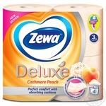 Туалетная бумага Zewa Deluxe Cashmere Peach 3-х слойный 4шт - купить, цены на Ашан - фото 2