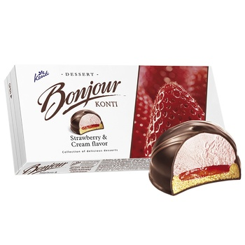 Десерт Конти Бонжур клубника со сливками 232г - купить, цены на Ашан - фото 2