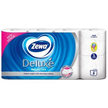 Туалетная бумага Zewa Deluxe Delicate Care белая 3-х слойная 8шт - купить, цены на МегаМаркет - фото 2