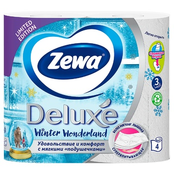 Zewa Deluxe Delicate Care 3-ply white toilet paper 4pcs - buy, prices for MegaMarket - image 4