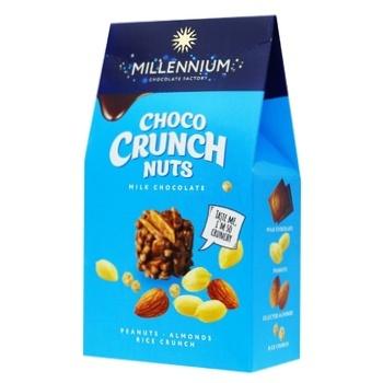 Цукерки Millennium Choco Crunch Nuts з арахісом мигдалем та рисовими кульками в молочному шоколаді 100г - купити, ціни на Ашан - фото 1