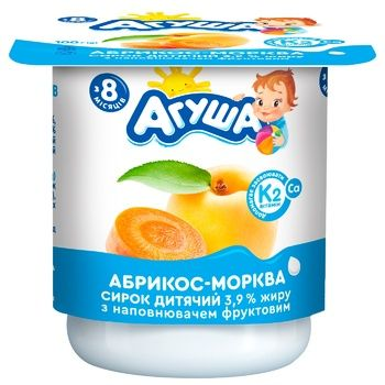 Agusha Apricot-Carrot Flavored Cottage Cheese 3,9% 100g - buy, prices for CityMarket - photo 2