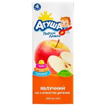 Agusha For Babies From 4 Months Sugar-Free Apple Juice 200ml - buy, prices for CityMarket - photo 2